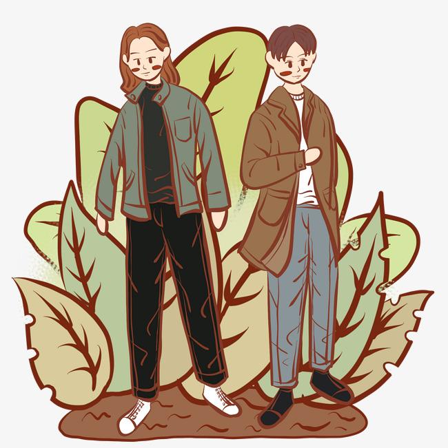 设计元素 人物形象 动漫人物 > 手绘时尚青年文艺复古风小插画   图片