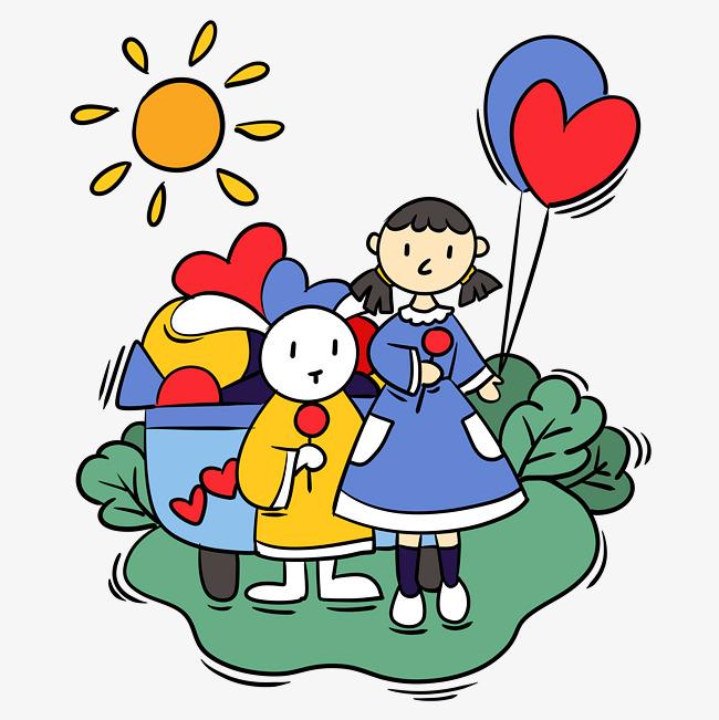 手绘卡通可爱梦幻童话小女孩和小白兔