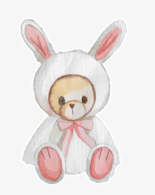 可爱手绘兔子加泰迪熊萌萌哒