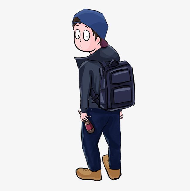 设计元素 人物形象 动漫人物 > 回头男孩手绘插画psd   图片编号:2763