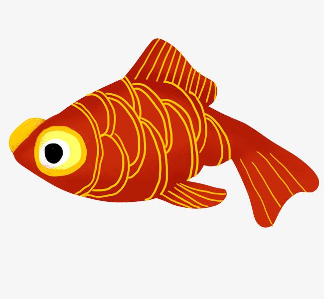 红色小金鱼手绘插画图片素材 其他格式 下载 动漫人物大全