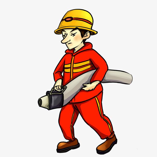 卡通手绘消防人员灭火插画图片素材 其他格式 下载 动漫人物大全