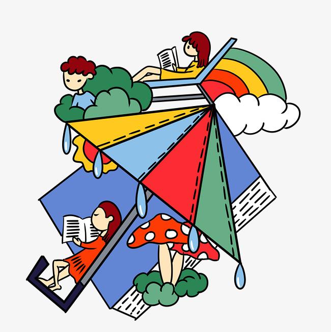 手绘卡通可爱童话小女孩和遮阳伞