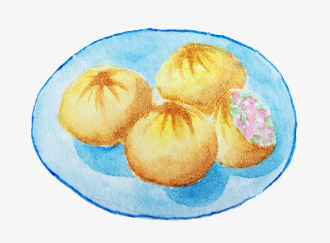 手绘水彩美食生煎包插画