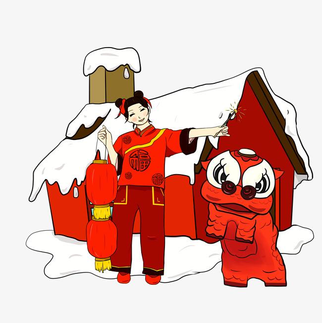 原创设计手绘卡通新年雪景插画