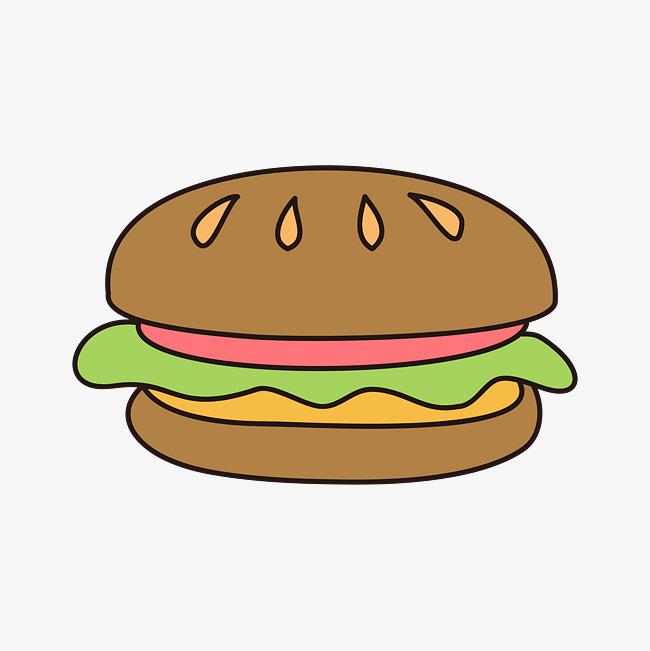 矢量手绘卡通汉堡包