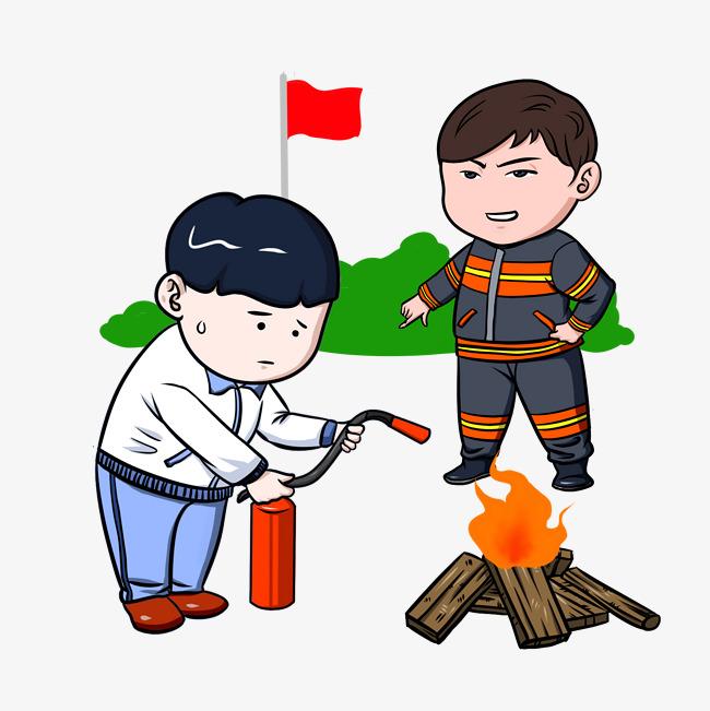 消防器械卡通消防员与户外灭火插画图片素材 其他格式 下载 动漫人物