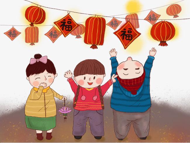 中国风蜡笔画小孩过新年春节快乐图片素材 其他格式 下载 动漫人物大全