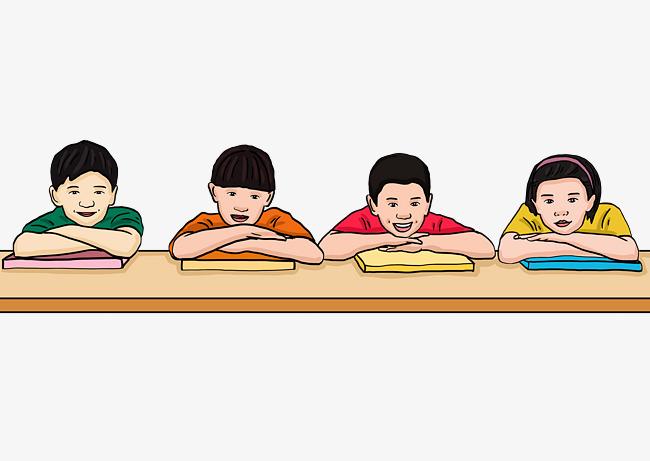 设计元素 人物形象 动漫人物 > 手绘卡通上课听讲的孩子们   图片编号
