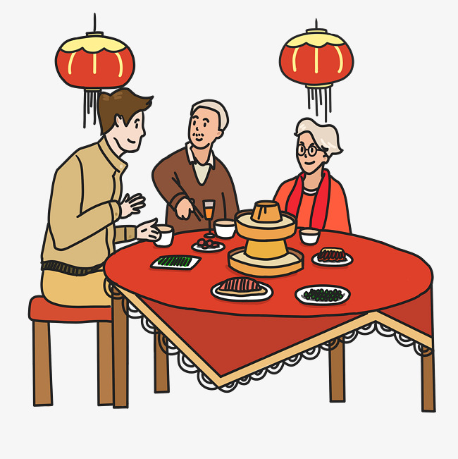 新年团聚手绘插画