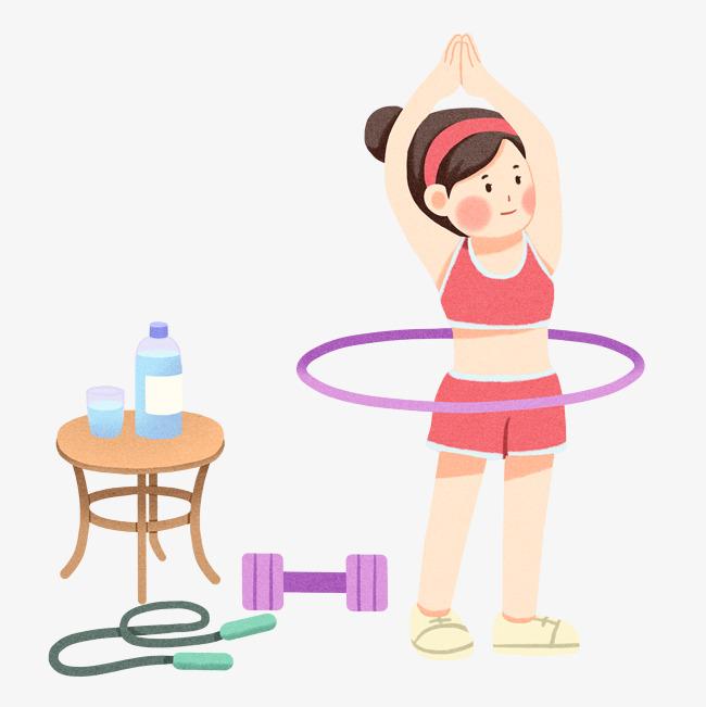 呼啦圈健身手绘插画图片素材(其他格式)下载_动漫人物