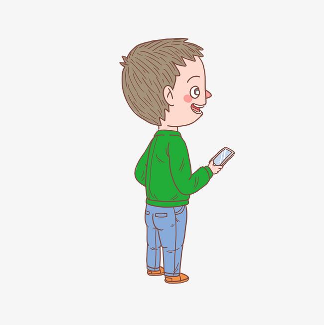 卡通手绘人物看手机男孩