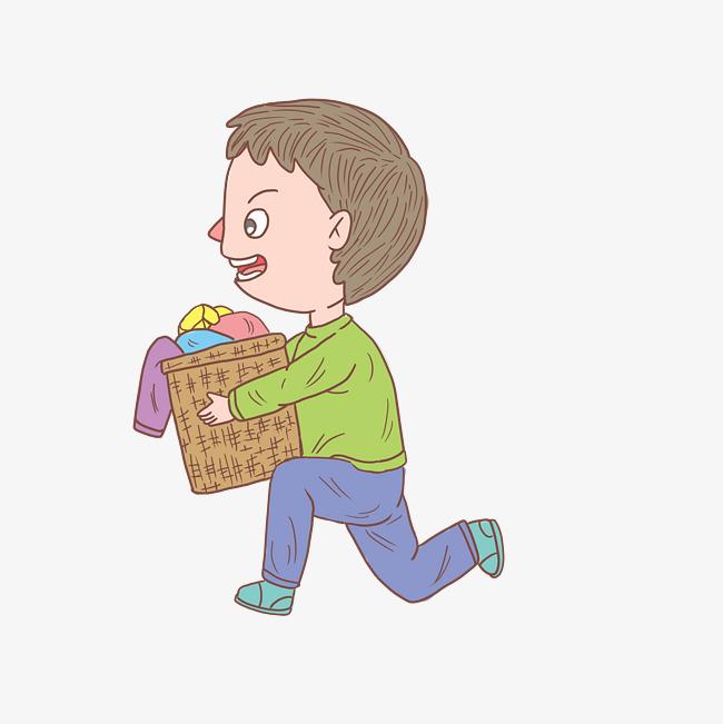 卡通手绘人物洗衣服男孩