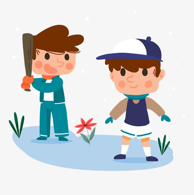 设计元素 人物形象 动漫人物 > 卡通冬天户外运动打棒球的男孩   图片