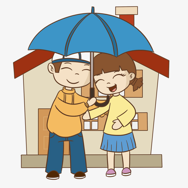 团聚打伞手绘插画