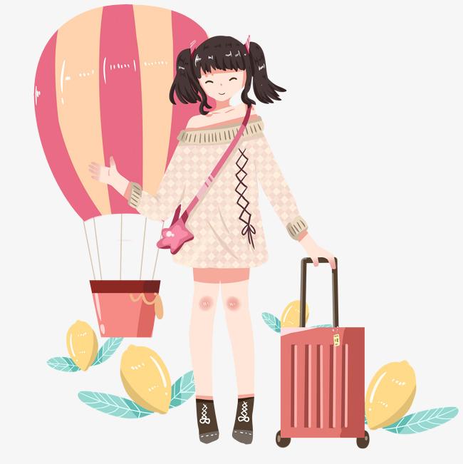 旅游人物和热气球手绘插画