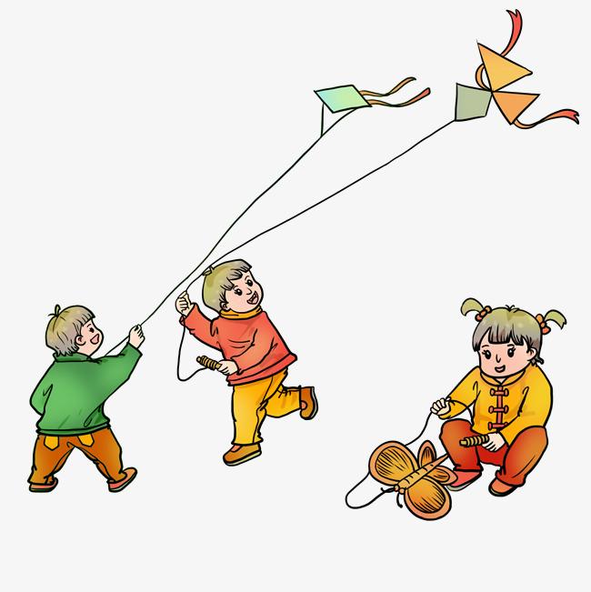 设计元素 人物形象 动漫人物 > 童年新年放风筝的孩子们   图片编号
