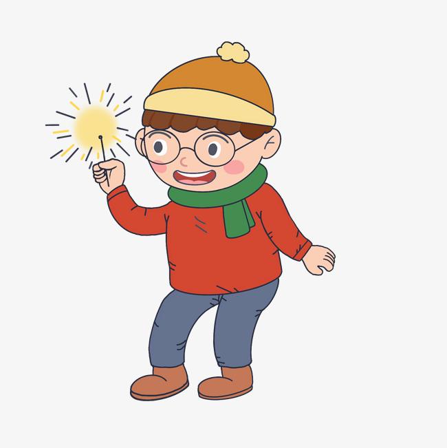 新年卡通手绘人物放烟花男孩