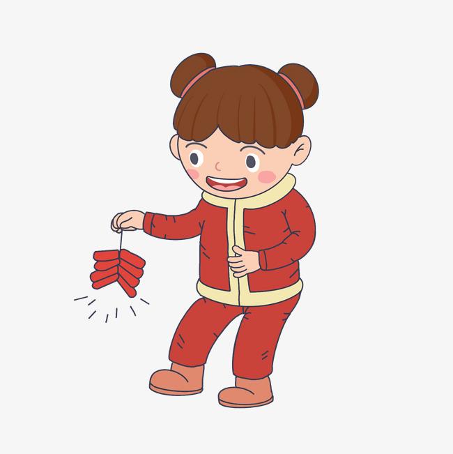 新年卡通手绘人物放鞭炮女孩