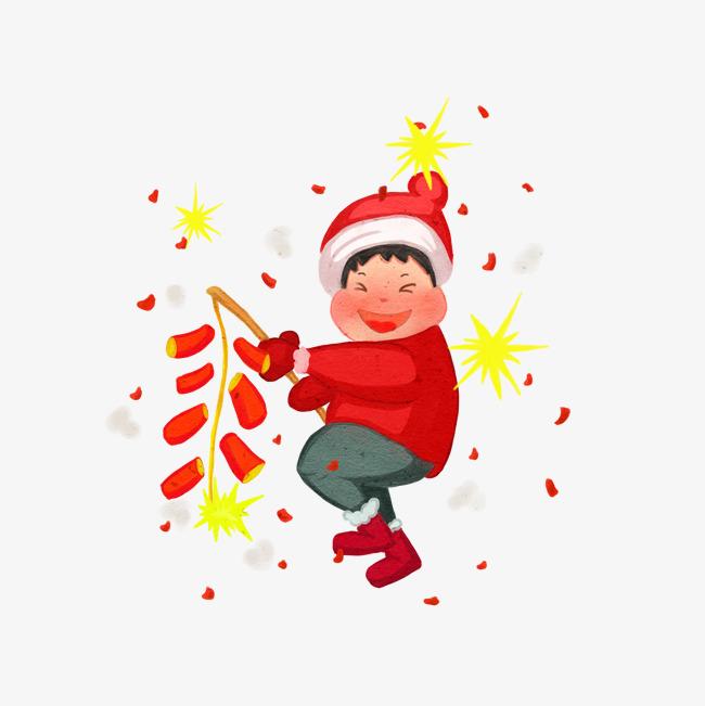 原创设计新年手绘小孩子放鞭炮