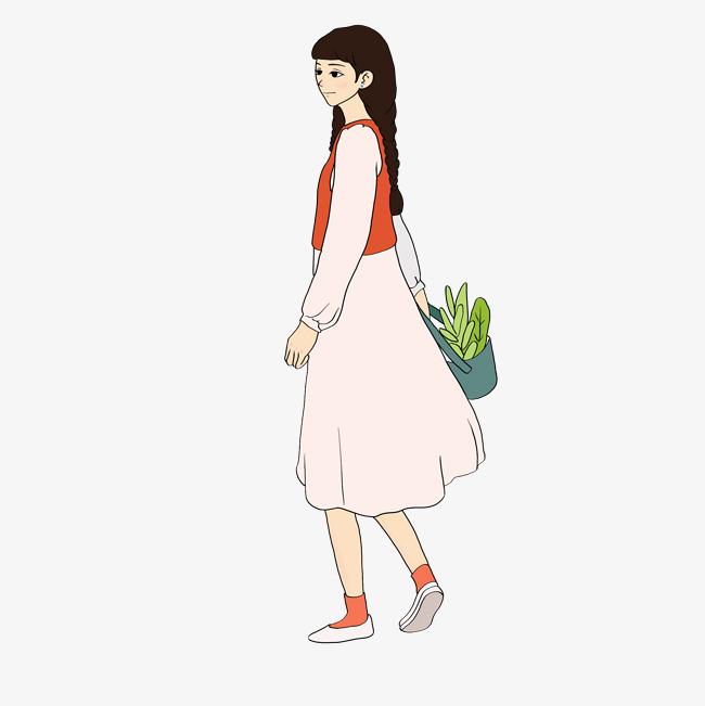 设计元素 人物形象 动漫人物 > 文艺节橘红色系小清新手绘插画风提