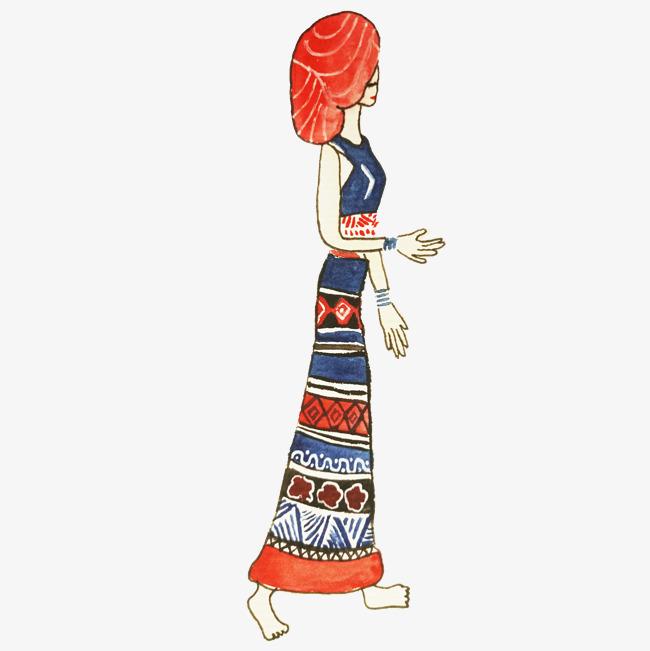 傣族人物手绘插画