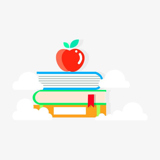 手绘卡通书本苹果