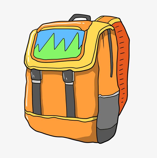 设计元素 人物形象 动漫人物 > 卡通手绘黄色旅行背包插画   图片编号