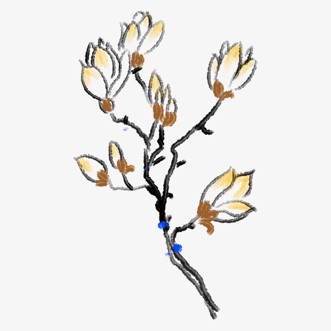 黄色的樱花手绘插画图片素材 其他格式 下载 动漫人物大全
