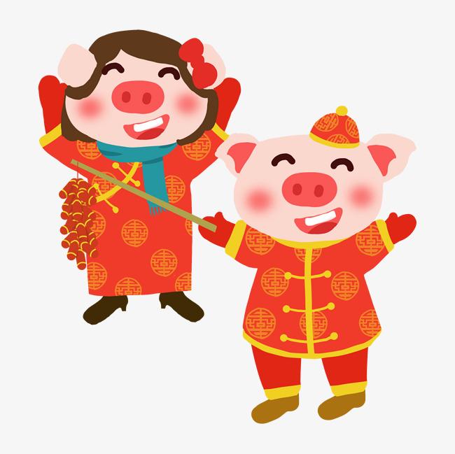 春节卡通手绘放鞭炮的情侣小猪