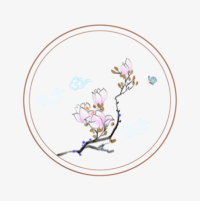 手绘古风桃花边框图片素材 其他格式 下载 其他大全