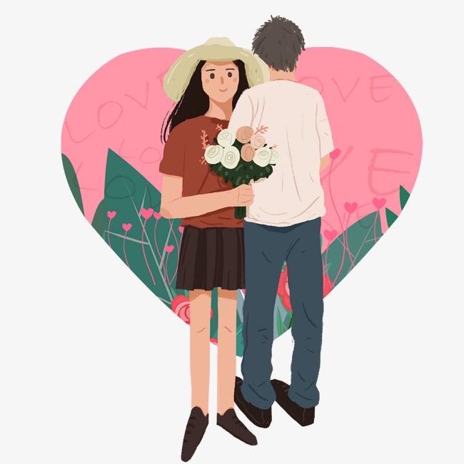 卡通手绘牵手情侣创意海报