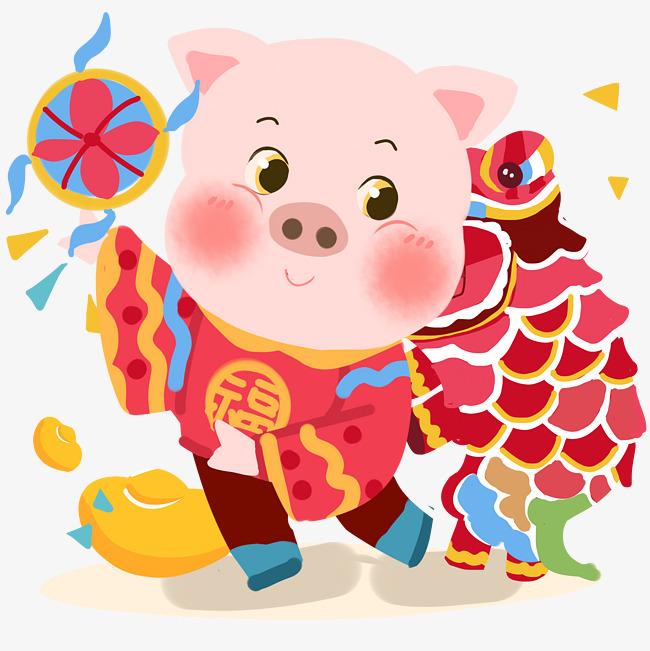 新年猪舞狮手绘卡通人物png素材图片