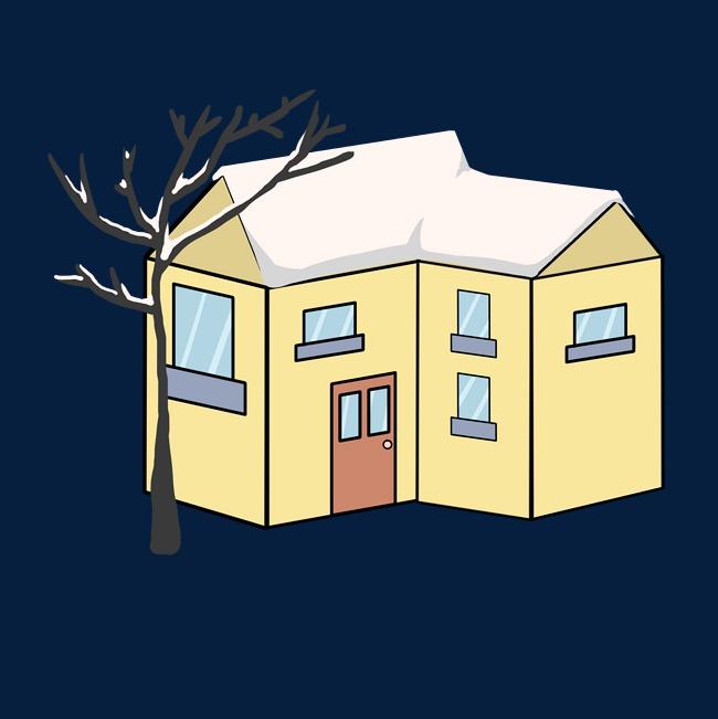 雪天里黄色的房子插画图片素材 其他格式 下载 动漫人物大全