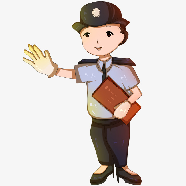 手绘交通女警察插画图片素材(其他格式)下载_动漫人物