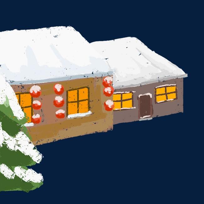 卡通手绘下雪的房子图片素材 其他格式 下载 动漫人物大全