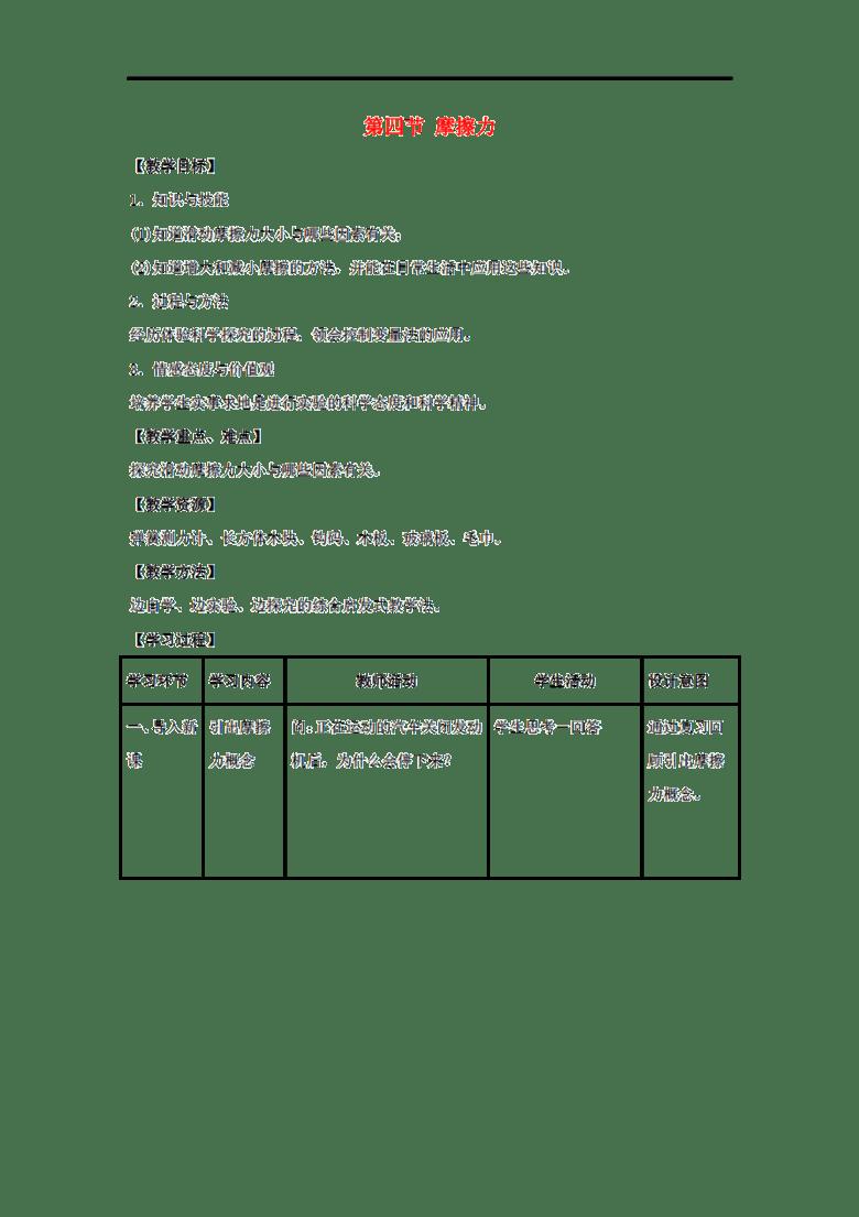 2016春八年级物理下册 6.4 摩擦力 教案 鲁教版五四制图片设计素材 高清word doc模板下载 0.05MB 初中教案大全