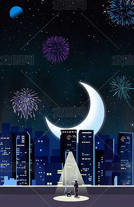 浪漫烟花手绘插画城市夜景海报