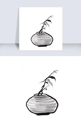 水墨写意花瓶花朵绘画