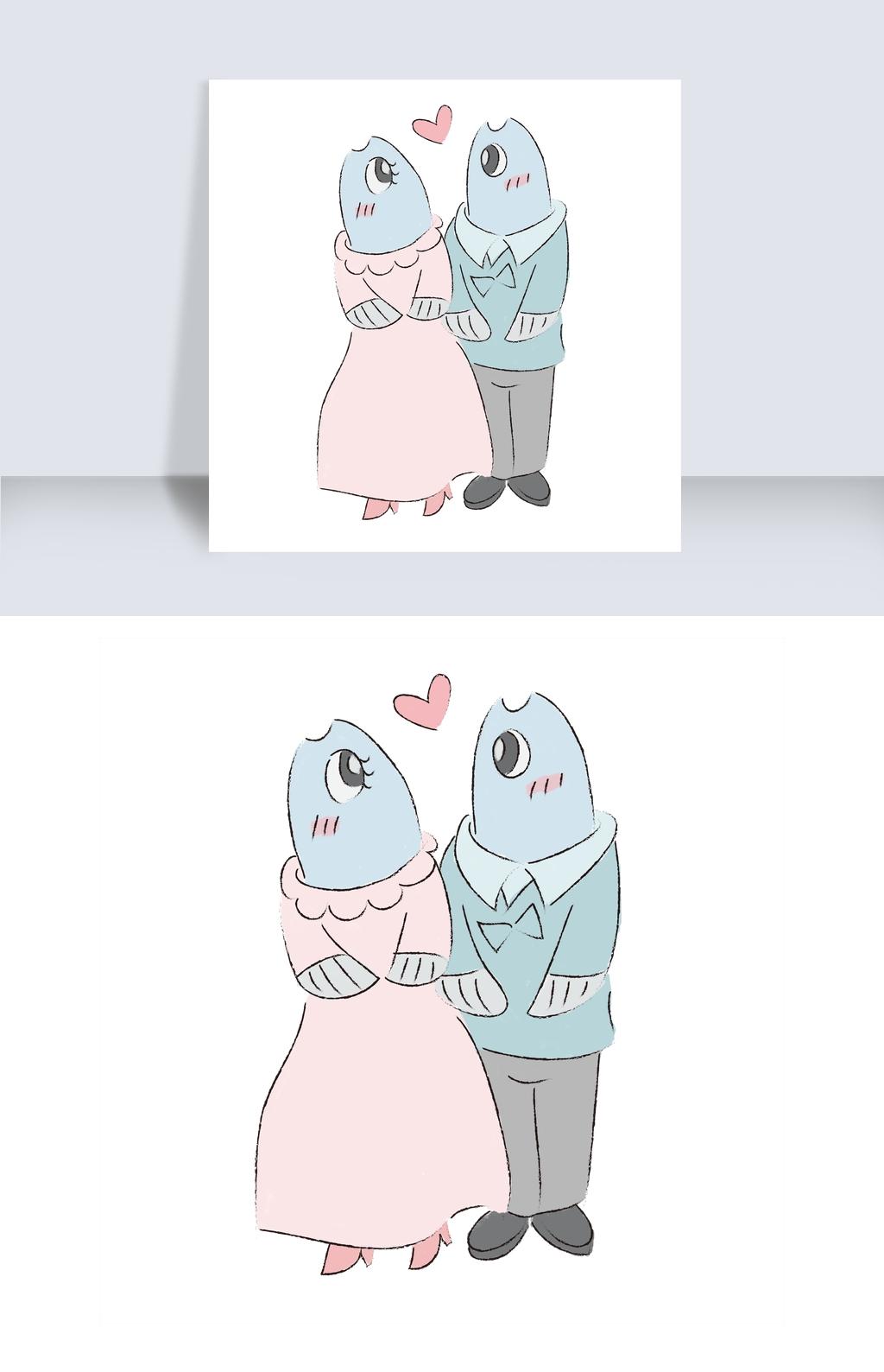情人节手绘可爱a漫画沙丁鱼小漫画新郎怪兽婚礼虹v漫画猫蓝兔新娘图片