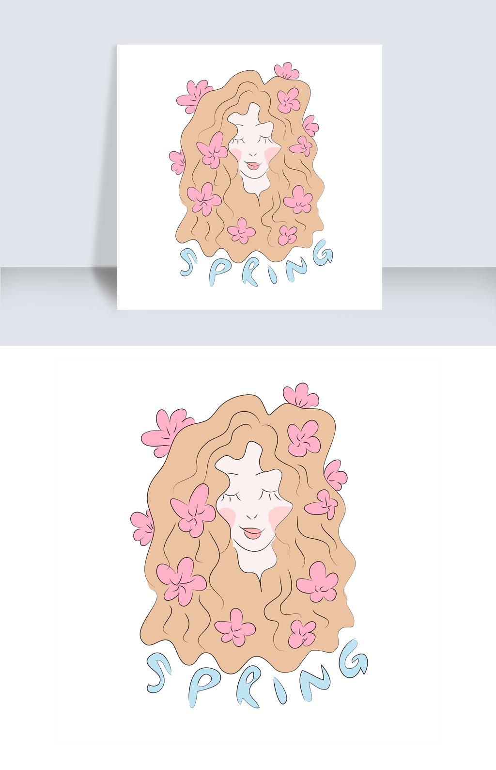 手绘a花朵花朵女生春天春姑娘黑白非女孩头像主流qq漫画图片