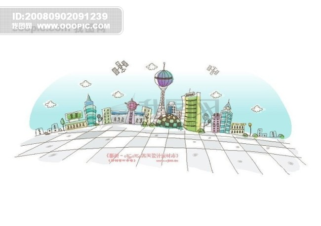 城市风景 卡通城市漫画手绘 han.