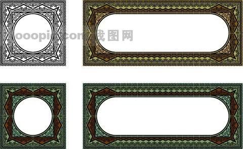 中国古典元素 方框 圆形 花边 古.