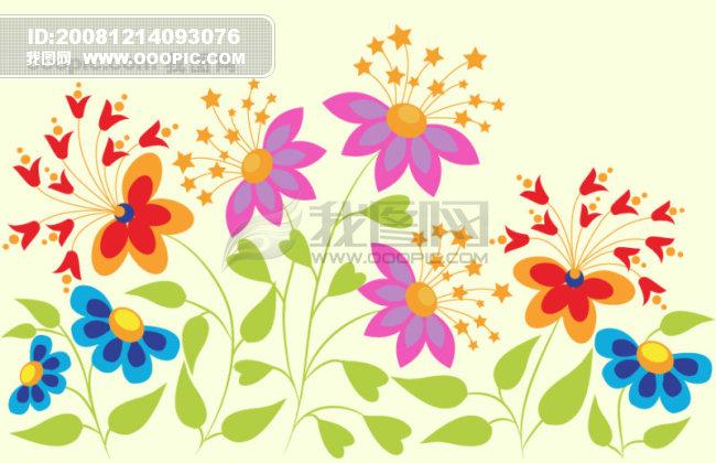 矢量可爱,花朵,蝴蝶,星星,矢量素.