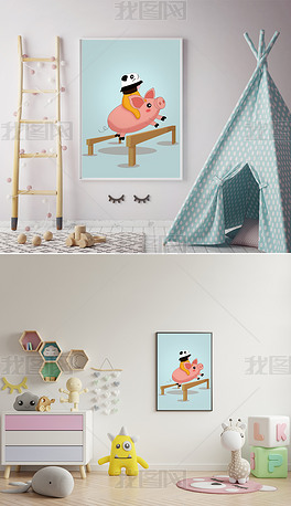 新的一年一飞冲天可爱骑猪原创矢量插画儿童房间装饰画