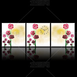 油墨玫瑰风采壁钟无框画 PSD分层源文件