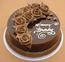 精美花卉巧克力蛋糕图片