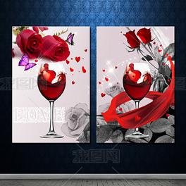 红酒玫瑰爱时尚无框画
