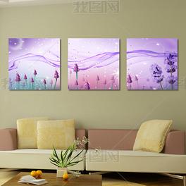 紫色梦幻无框画模板