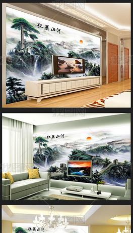 壮丽秀美山川现代国画风格背景墙
